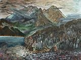Blabheinn over Loch Slapin by John Slavin, Painting, Oil on canvas