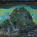 Peak of the Cold Fountain with Crescent by John Slavin, Painting, Acrylic on canvas