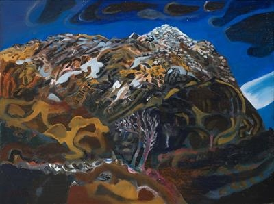 Black with Ice the Warm Mountain by John Slavin, Painting, Oil on canvas