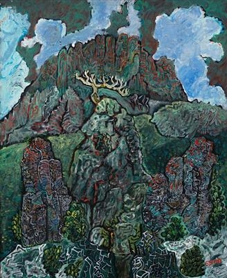 Bugarach East Face by John Slavin, Painting, Acrylic on canvas
