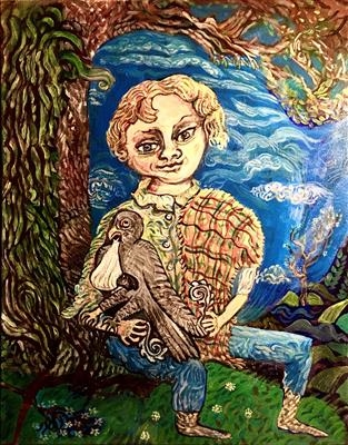 Jack and his Cuckoo by John Slavin, Painting, Acrylic on canvas