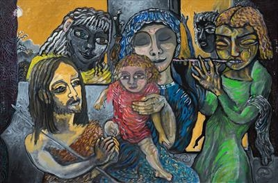 Jesus and the Children of Pan by John Slavin, Painting, Oil on canvas